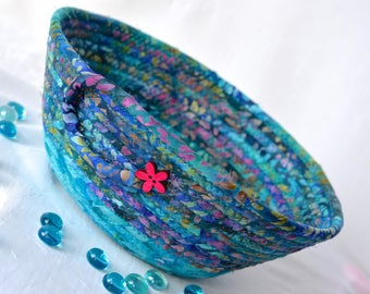 Batik Bread Basket, Handmade Napkin Holder, Hand Coiled Knitting Basket, Aqua Blue Fabric Basket, Modern Chic Fabric Bowl, Turquoise Bowl