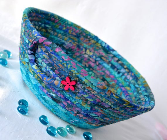 Teal Bread Basket, Handmade Napkin Holder, Hand Coiled Knitting Basket, Aqua Blue Fabric Basket, Modern Chic Fabric Bowl, Turquoise Bowl