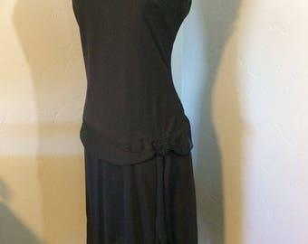 Black Drop Waist 1920's Style Chiffon Party Dress