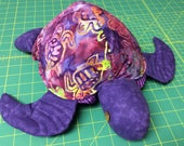 Hawaii Honu, turtle, batik purple fabric pillow