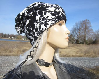 Coton Knit Slouchy Beanie Hat Bohemian Clothing Flower Printed Cuff Women Spring Summer Lightweight Black & White Floral Print A1852
