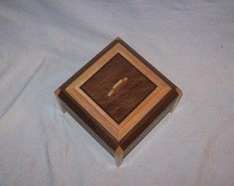 Walnut and Maple Legged Box with Fancy Walnut inlayed top