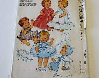 """McCall's 2349: Toddler and Baby Dolls' Wardrobe Size 15""""-17"""" CUT but COMPLETE"""