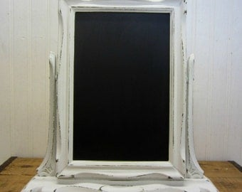 Vintage Wood Swivel Tabletop Framed Chalkboard Wedding Farmhouse Decor