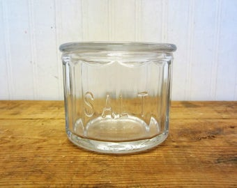 Vintage Fire King Clear Glass Salt Dip Dish with Lid