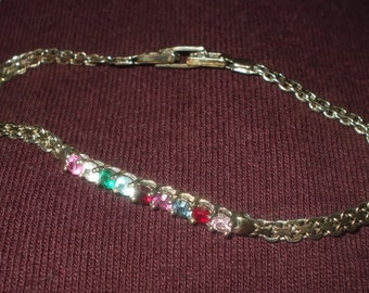 Vintage Sterling Silver Bracelet Birthstone Gems Stones Chain Amethyst Sapphire Diamond Garnet Emerald Blue Topaz Pink Etc CZ's 925 1980's
