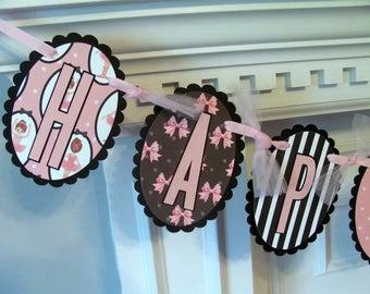 Birthday Banner, Ballet Birthday Banner, Pink and Black Ballet Birthday Banner with Pink Tulle