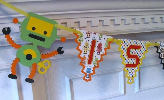 Robot Happy Birthday Banner, Pennant Birthday Banner in Primary Colors. Robot Banner
