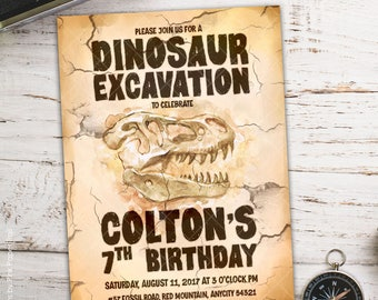Dinosaur Dig Excavation Birthday Party Printable Invitation, Boy Birthday Party Invitation I Will Customize Print Your Own
