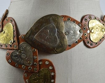 """Vintage Moroccan Belt Heart Shape Brown Leather with Silver and Brass Stamped Brass 41"""""""