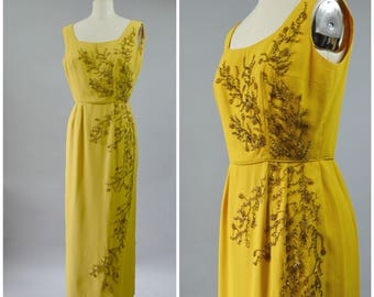 1960s Yellow Gold Dress with Brown Beads On Front Long Evening Dress Size Medium Custom Made or Home Sewn