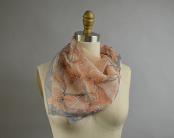 Vintage 60s Vera Scarf Orange and Gray Floral Sheer Chiffon Crepe Texture Hand Rolled Hems Very Good  Condition