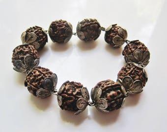 Vintage Rudraksha Bead and Silver Filigree Indian Bracelet, Meditation Bangle