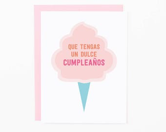 Spanish Birthday Greeting Card | Dulce Cumpleaños | Cotton Candy | Sweet Happy Birthday