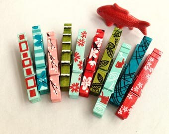 10 JAPANESE CLOTHESPINS magnets hand painted  koi cherry blossom bamboo