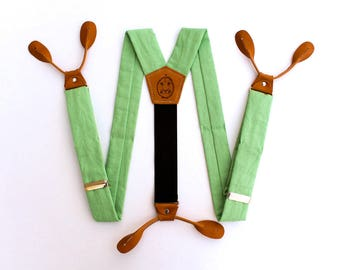 Handmade Mint Green Button On Suspenders // Light Tan Leather // Mens Suspenders // Groom Outfit // Groomsmen Outfit // Wedding