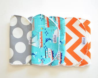 Boys Nautical Baby Burp Cloth Set of 3, Ready to Ship, Modern Chevron and Dots, Fishing Whale Jellyfish, Blue Orange Gray, Sailing Sailor