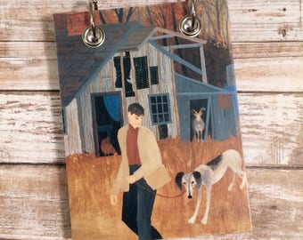 Recycled  Notebook - Handmade Journal - Upcycled Vintage Book - Large Notepad - Refillable Notepad- Man Walking Dog - Old Barn