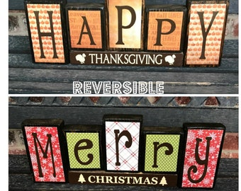 Lowest price of the season--one day SALE--Reversible Christmas and Thanksgiving wood blocks-(muted)Happy Thanksgiving