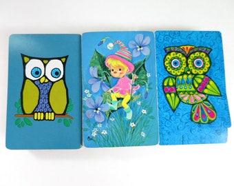 3 Vintage Playing Cards Decks, Blue Owls, Pixie Elf Card Decks, Kitsch Playing Cards, Owls Elves Pixies, Vintage Card Decks, FREE Shipping