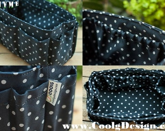 Stylish Bag Organizer Insert extra sturdy for large tote handbags blue Polka dots Large 25x10cm