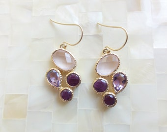 Faceted Pink Rose Quartz and Amethyst Vermeil Bezel Drop Dangle Earrings (E1269)