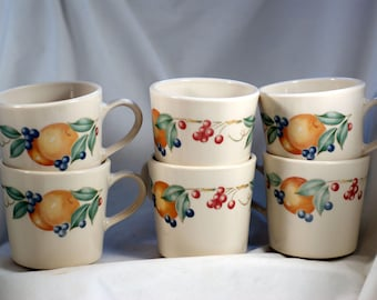 Corning abundance pattern coffee mug set of six peach grape and cherries