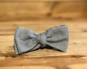 Light Blue Linen bowtie- January Special
