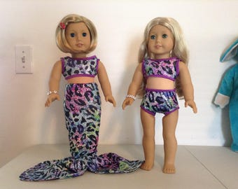 3-piece multi-colored mermaid outfit