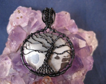 Tree of Life wire wrapped pendant with Picture Jasper