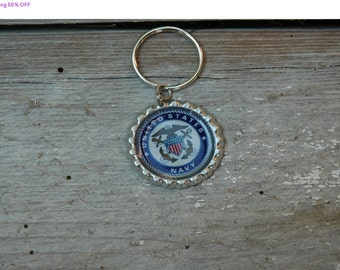 Shop Closing 50% OFF United States Navy Bottle Cap Keychain, Zipper or Backpack Pull - Proceeds Benefit Cancer Research