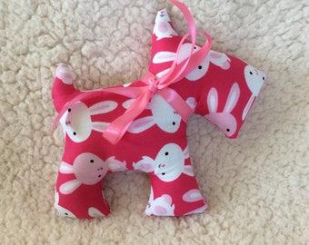 Stuffed Scottie dog – plush – pink with rabbits