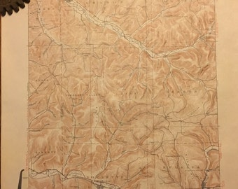Vintage Topographic/Geologic Survey Map of Coudersport area in Potter County, Pennsylvania, 1938