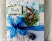 Thank you card, Bird and Nest with eggs, Shabby Robin bird card, Beautiful Bright lacy nature greeting, Thanks card, Robins egg blue
