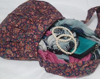 Shoulder Bag Pleated, Small, Navy Blue and Multicolor Paisley, Cotton Fabric