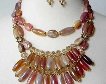 Tribal Statement Necklace, Bold Chunky Bib Necklace, Bohemian Fringe Necklace, Runway Statement Necklace, Semiprecious Stone Necklace