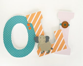 Custom Hanging Wall Letters for Nursery - Orange, Brown, and Teal Turquoise - Name Wall Décor - Unisex Baby Decor