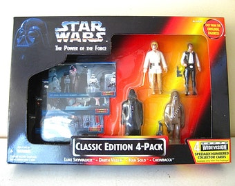 Vintage Star Wars The Power of the Force Classic Edition 4 Pack // Luke Skywalker // Darth Vader // Han Solo // Chewbacca // Action Figures
