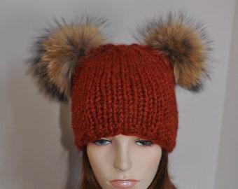 Fur Pompom Beanie Kylie Jenner Hat 2 Fur Bobbles Hat CHOOSE COLOR Ski Women Hat Kylie Jenner Style Double Pompom Christmas Gift under 100