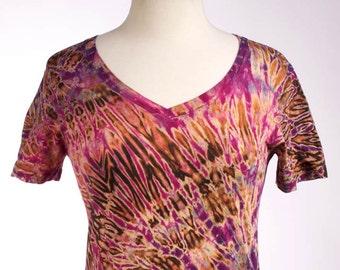 M Shibori V Neck T Women's Tie Dye V Neck Hand Dyed Rose PURPLE