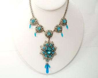 Singer Cohen Inc. NYC Dramatic Silver Blue Glass Dangle Necklace Czech Style Necklace Riviere
