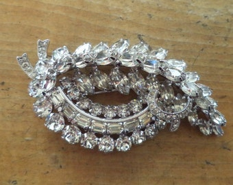 Eisenberg Crystal Rhinestone Brooch Signed Large Clear Rhinestone Prong Set Brooch Pin High End Designer Vintage