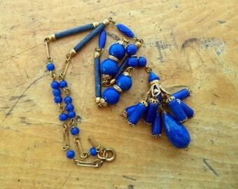 Vintage Signed Czech Glass Bead Necklace Deep Blue Beads Enamel Brass Filigree Gold Tone Ornate Art Deco Necklace