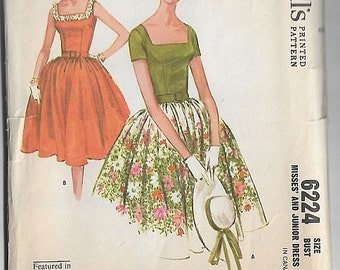 Vintage Sewing Pattern McCalls 6224 60s Dress With Full Gathered Skirt Size 10