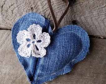 Shabby Chic Denim Heart Ornament with Crochet Flowers