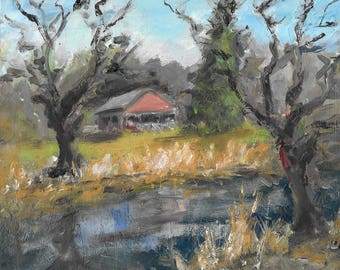 Original expressionistic landscape oil painting 8x10 trees, old barn, river