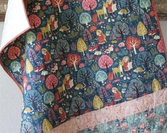 Baby Quilt Girl Acorn Trail Birch Organic Fabrics Woodland Forest Blanket Nursery Bedding Crib Quilt Cot Navy Blue Coral Pink Fox Animals