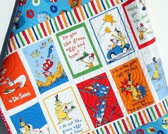 Toddler Dr Seuss Quilt, Throw Green Eggs and Ham, Plus Signs Stripes, Bright Colors, Blanket, Nursery Decor, Boy or Girl, Toddler Bed Quilt