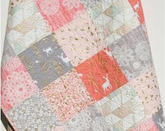 Rustic Baby Quilt, Girl Crib Bedding, Deer Blanket, Gold Shimmer, Coral Pink Grey Gray, Nursery Decor, Brambleberry, Woodland