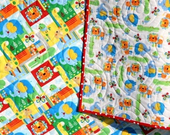 Quilt FLANNEL Baby Boy or Girl Bedding Zoomates Elephant Giraffe Lion Zoo Animals Red Blue Primary Colors Warm and Cozy Baby Bedding Nursery